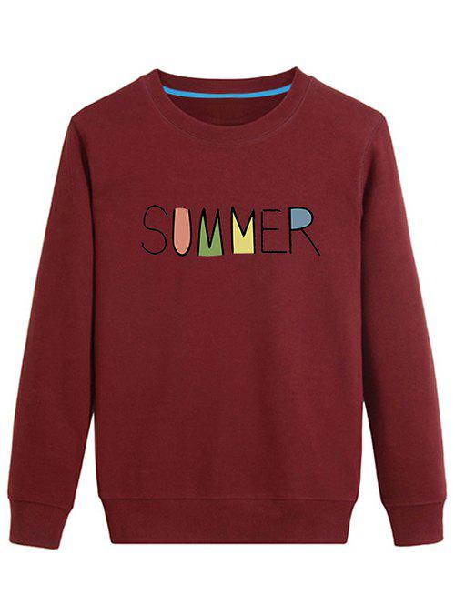 Long Sleeve Summer Pullover Sweatshirt - DEEP RED S