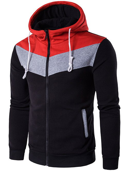 Zip-Up Hooded Color Block Splicing Hoodie - BLACK 2XL