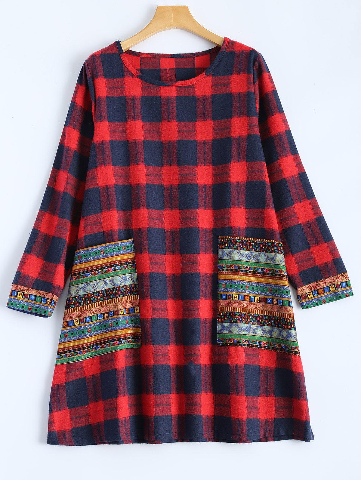 Tribal Print Plaid Paneled Dress - RED L