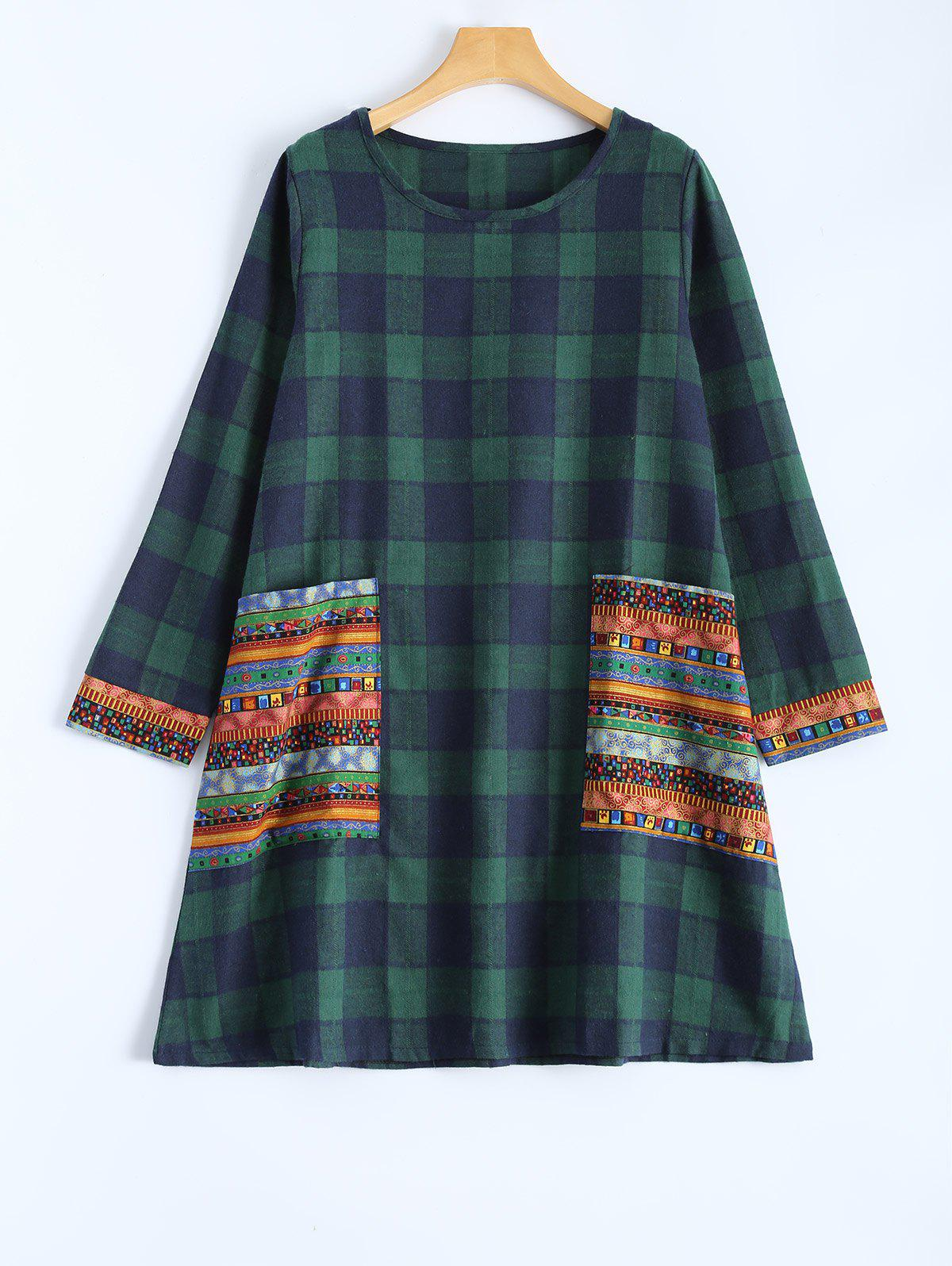 Tribal Print Plaid Paneled Dress - BLACKISH GREEN 2XL