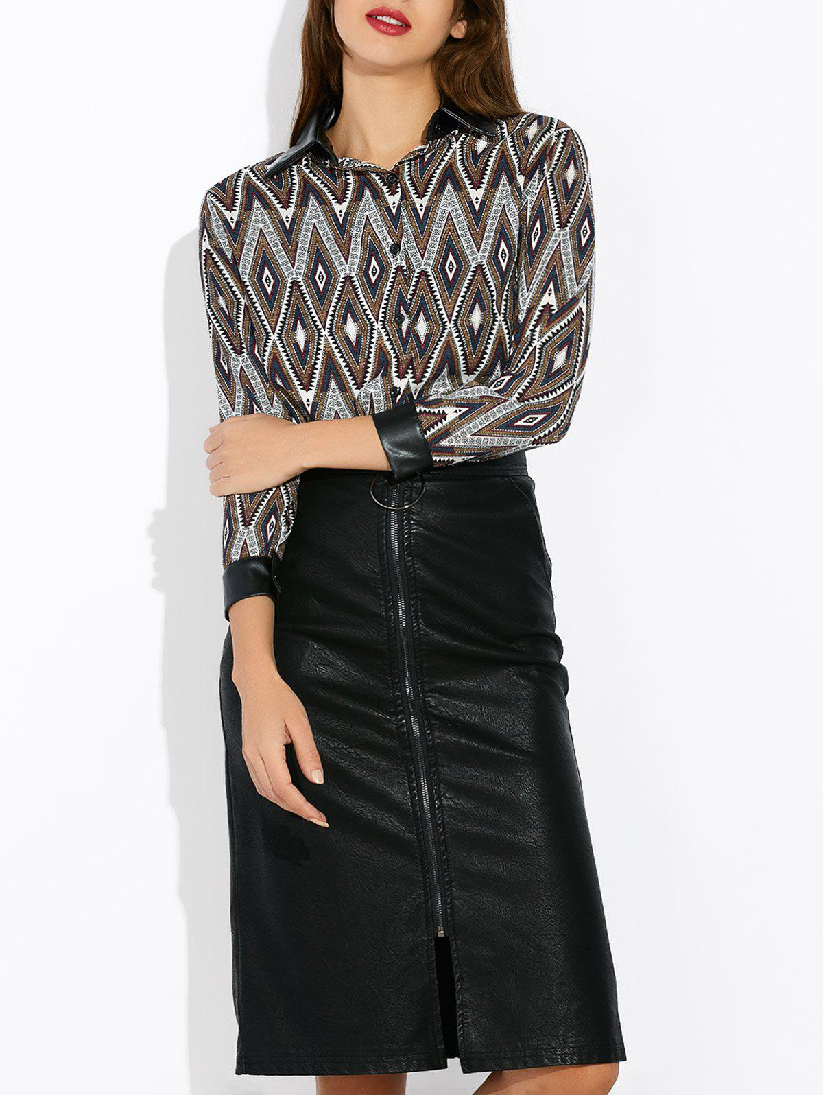Geometric Print Faux Leather Insert Blouse lace insert fitted faux leather skirt