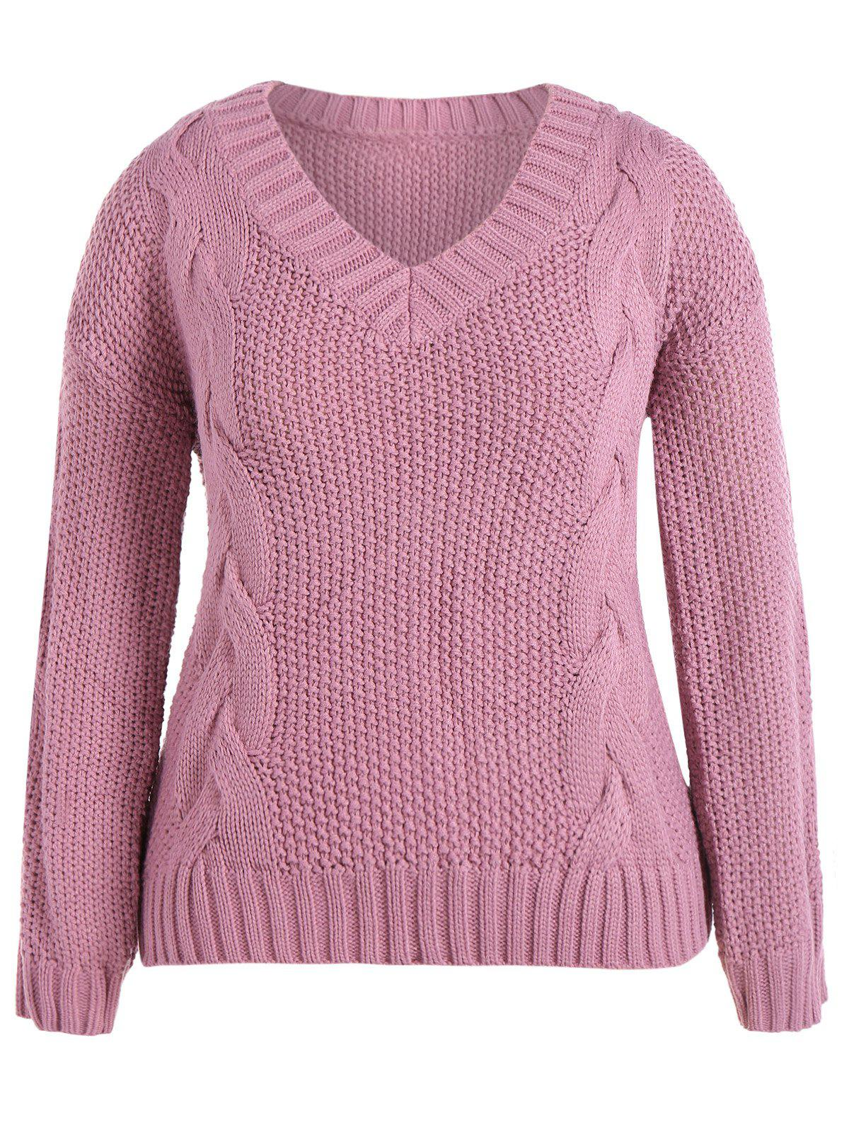 2017 Cable Knit Plus Size Pullover Sweater PINK XL In Plus Size ...