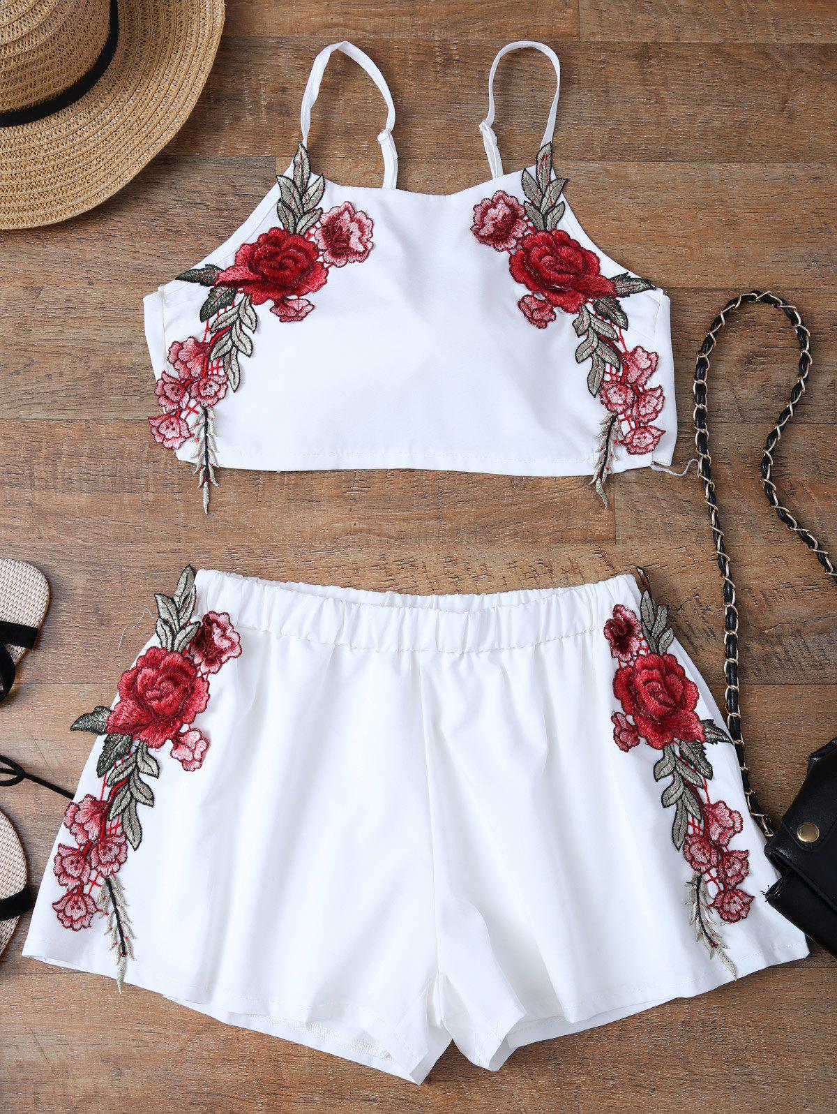 Floral Applique Bowknot Top with Shorts floral applique bowknot top with shorts