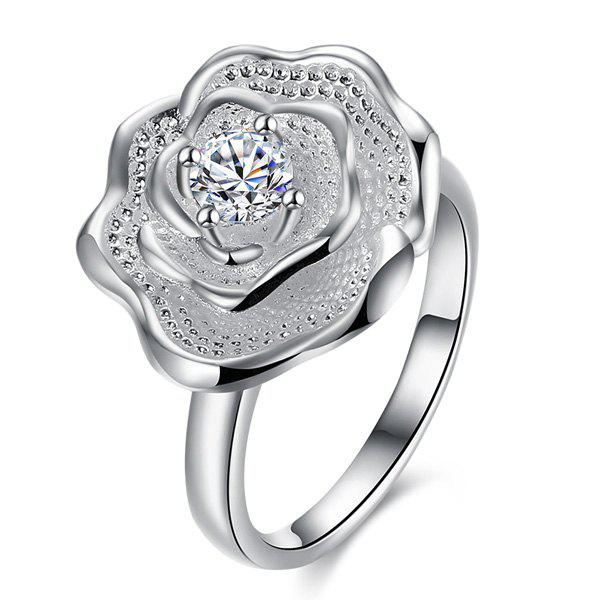 Rhinestone Rose Shape RingJewelry<br><br><br>Size: 8<br>Color: SILVER
