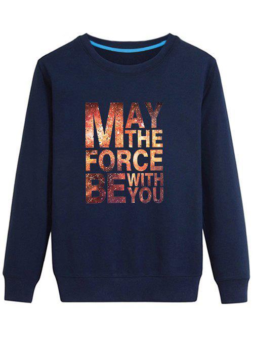 Graphic Long Sleeves Sweatshirt - CADETBLUE L