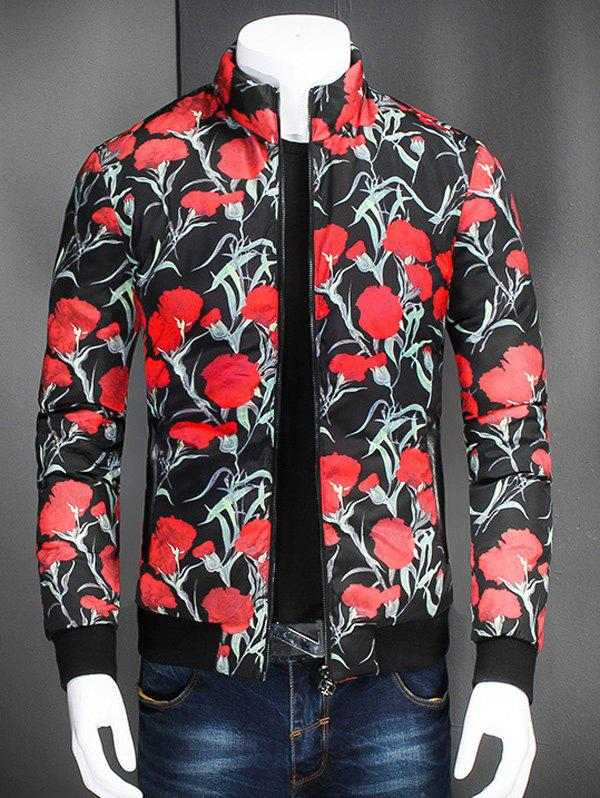 Flower Printed Stand Collar Zip Up Jacket - BLACK L