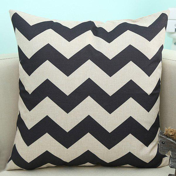Home Decor Wave Printed Cushion Linen Pillow Case - BLACK