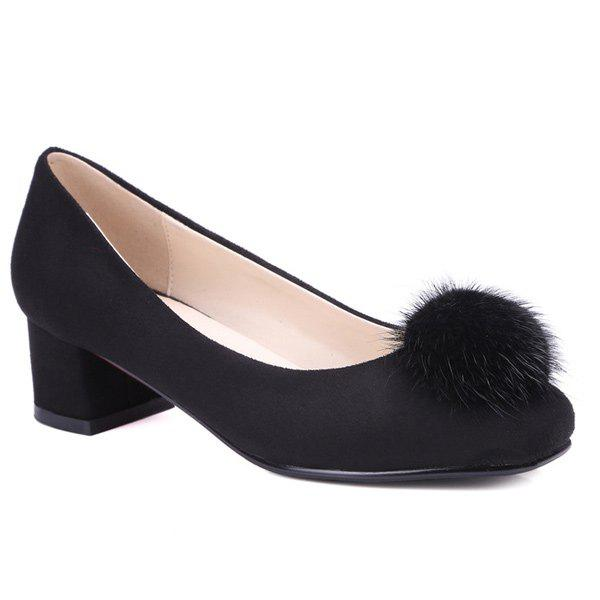 Suede Pompon Square Toe Pumps - BLACK 38