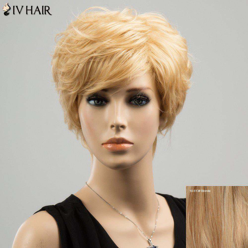 Siv Short Straight Side Bang Layered Human Hair Wig - BLONDE