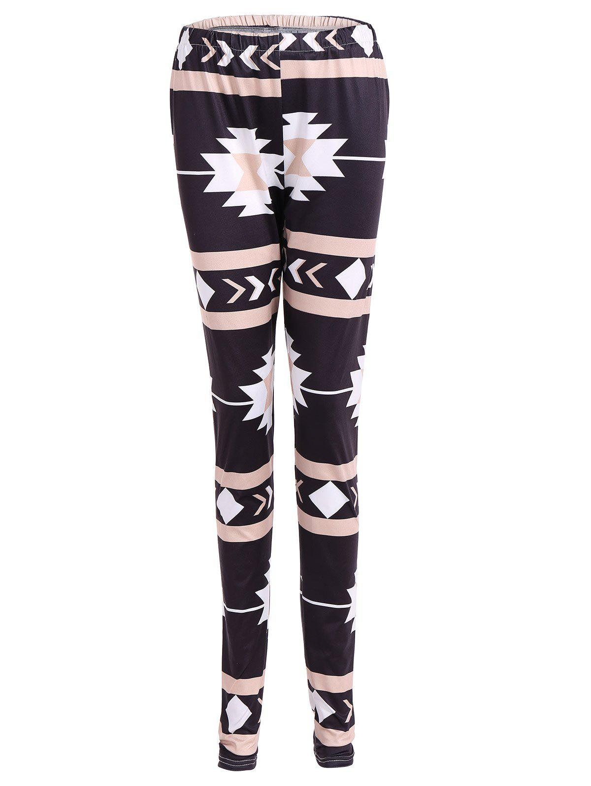 Geometric Christmas Skinny Leggings - BLACK XL