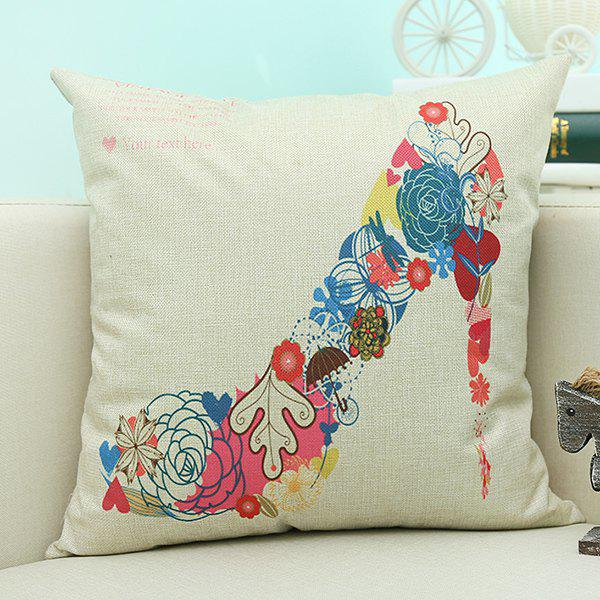 Home Decor High Heeled Shoe Printed Cushion Linen Pillow CaseHome<br><br><br>Color: BEIGE