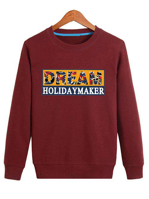 Graphic Long Sleeve Pullover Sweatshirt - DEEP RED L