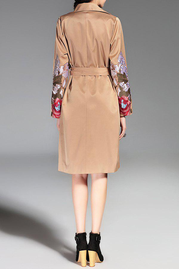 Button Down Embroidered Trench Coat with Belt - KHAKI L