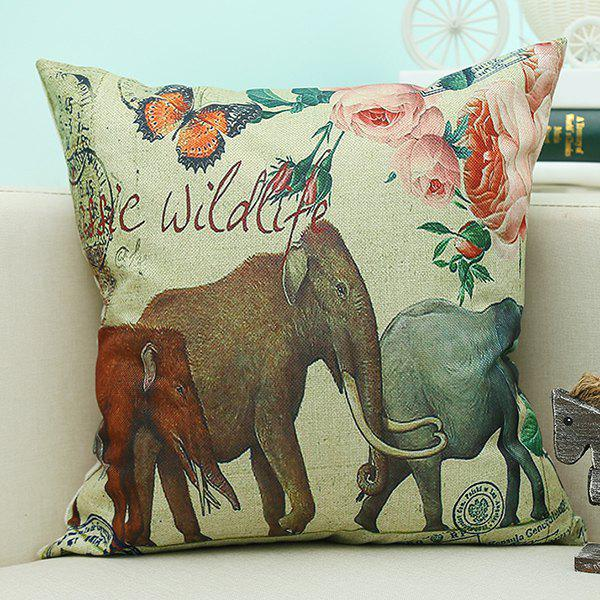 Home Decor Elephant Animal Printed Cushion Linen Pillow CaseHome<br><br><br>Color: BEIGE