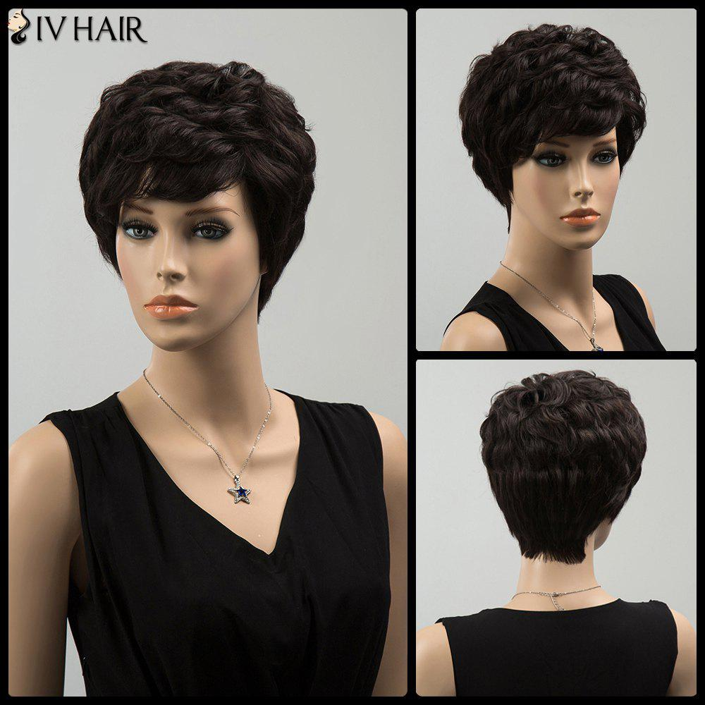 Siv Short Curly Layered Side Bang Human Hair Wig - BLACK