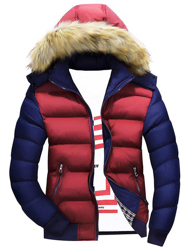 Zipper Color Block Quilted Jacket with Fur Trim Hood - BURGUNDY M