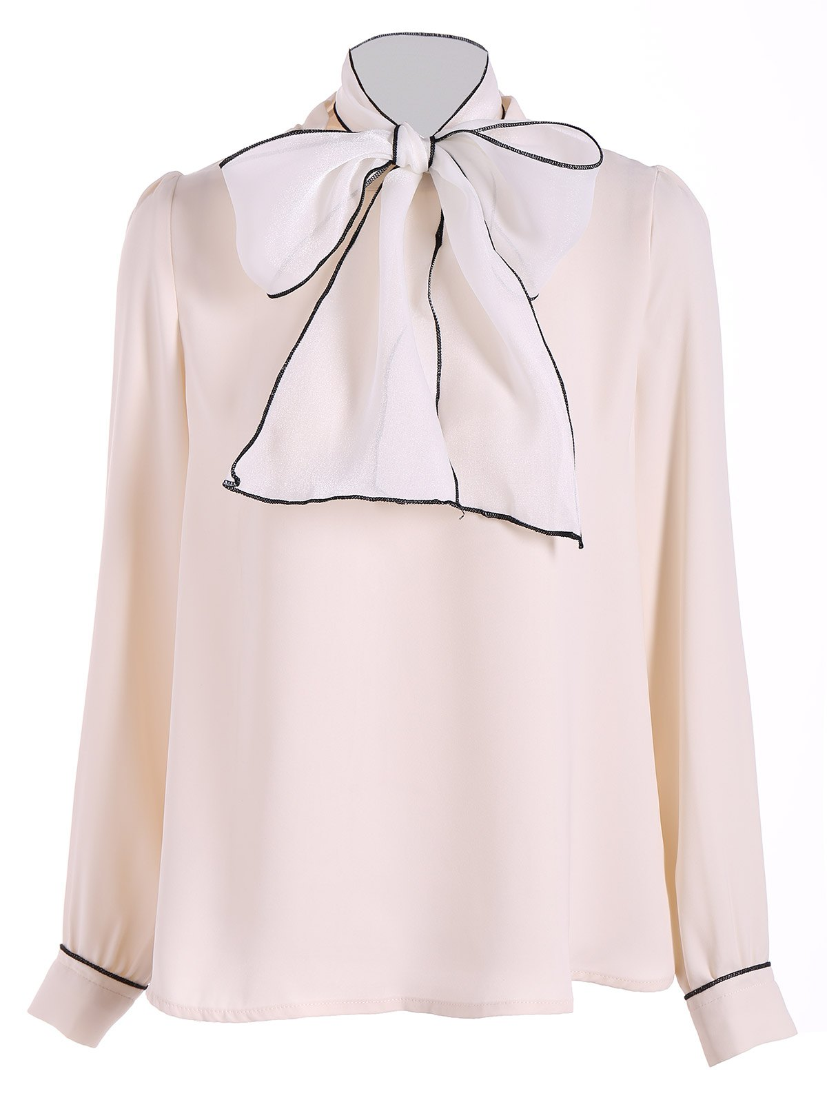 Pussy Bow Tied Neck Chiffon Blouse - APRICOT S