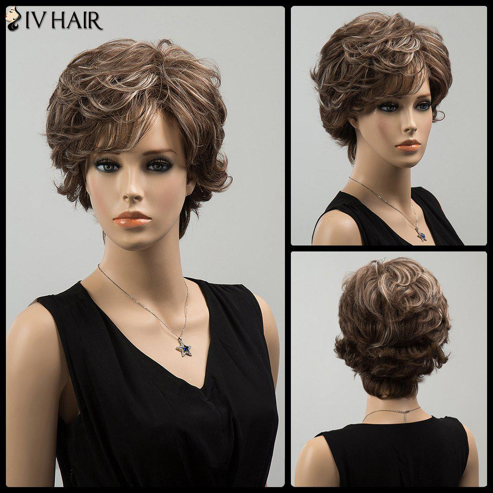 Siv Wavy Highlight Short Oblique Bang Fluffy Human Hair Wig - COLORMIX