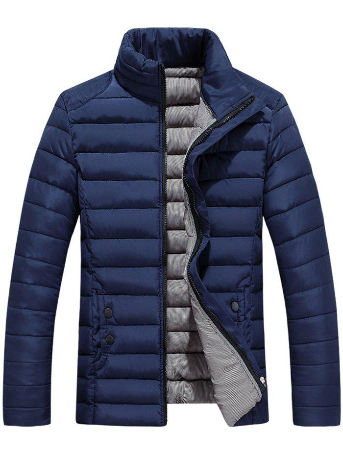 Button Embellished Zipper Up Quilted Jacket - CADETBLUE L