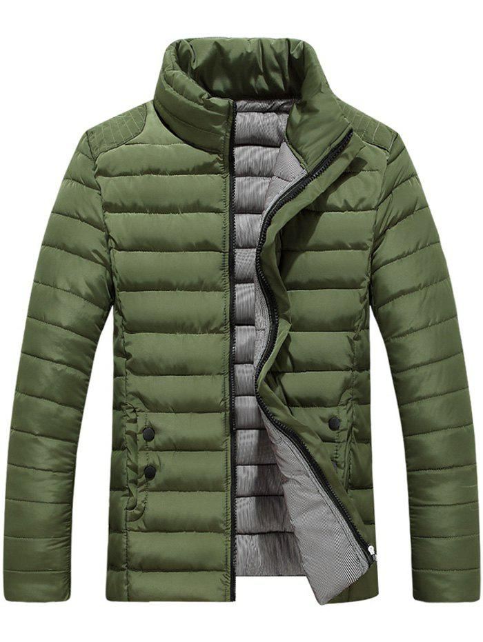 Button Embellished Zipper Up Quilted Jacket - ARMY GREEN 3XL