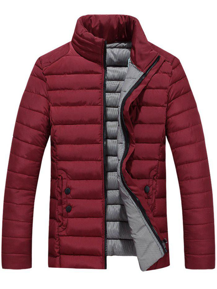 Button Embellished Zipper Up Quilted Jacket - WINE RED XL