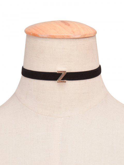 Letter Velvet Choker Necklace - 25