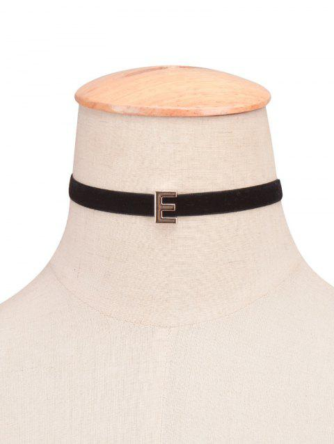 Letter Velvet Choker Necklace - 05
