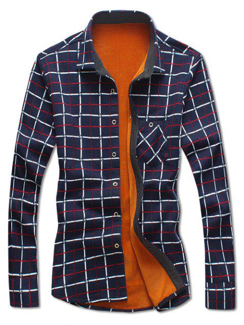 Checked Print Flocking Shirt - CADETBLUE L
