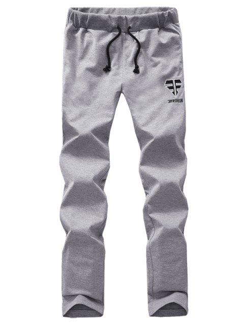 Lace Up Comfortable Embroidered Narrow Feet Pants - GRAY S