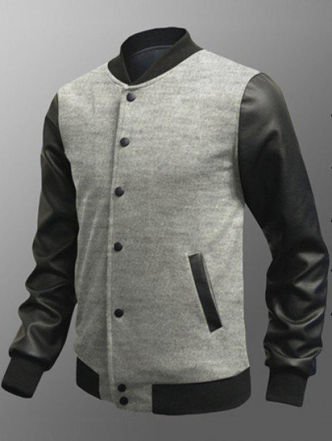 Snap Button Up Side Pocket PU Insert Jacket - LIGHT GRAY M