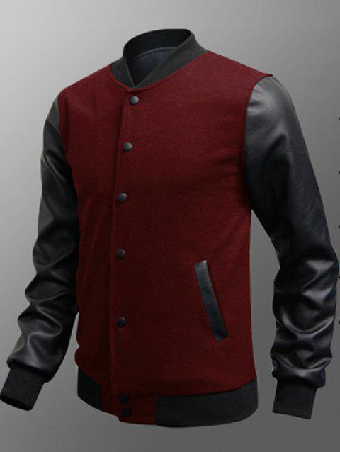 Snap Button Up Side Pocket PU Insert Jacket - BURGUNDY M