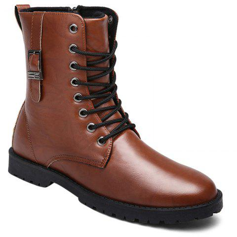 PU Leather Eyelet Buckle Strap Combat Boots - BROWN 42