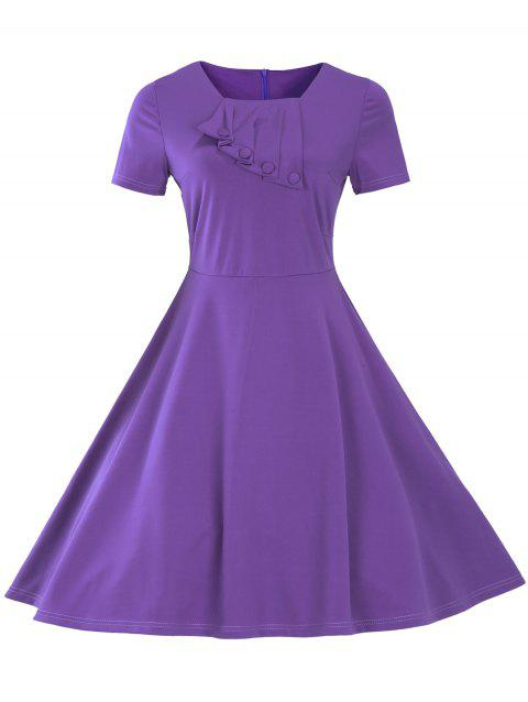 Vintage Short Sleeve Fit and Flare Pin Up Dress - PURPLE 2XL