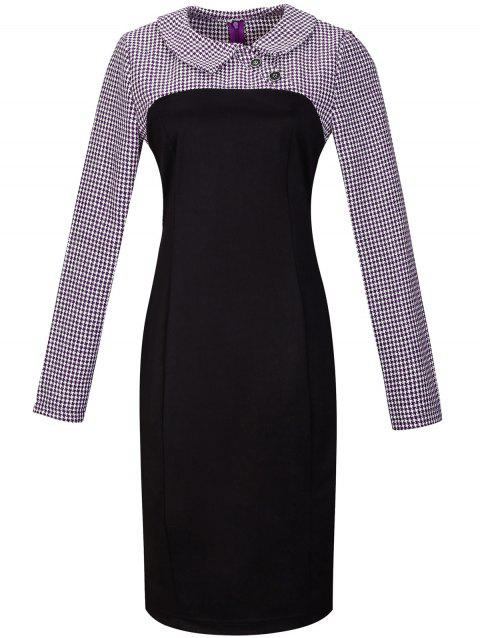 Houndstooth Long Sleeve Pencil Dress - PURPLE S