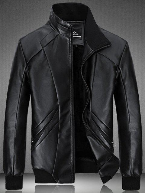 Flocking Spliced Design PU Leather Jacket - BLACK 2XL