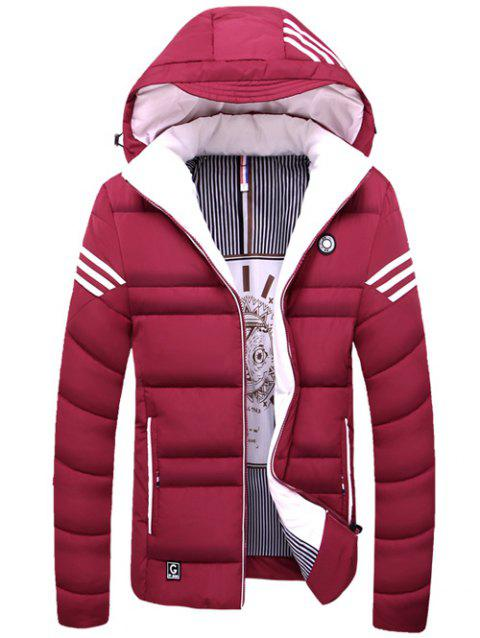 Striped Zip Up Hooded Quilted Jacket - RED XL