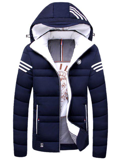 Striped Zip Up Hooded Quilted Jacket - PURPLISH BLUE M