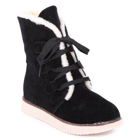Lace-Up Flat Heel Snow Boots - BLACK 37