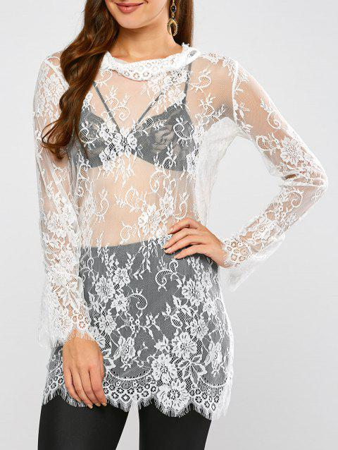 Lace Long Sleeve Sheer Tunic Cover-Up - WHITE S