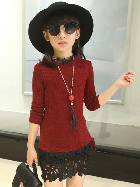 Pullover Knit Sweater Dress - WINE RED 130