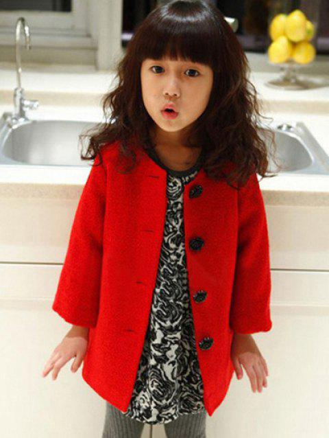 Single-Breasted Woolen Coat - RED 100