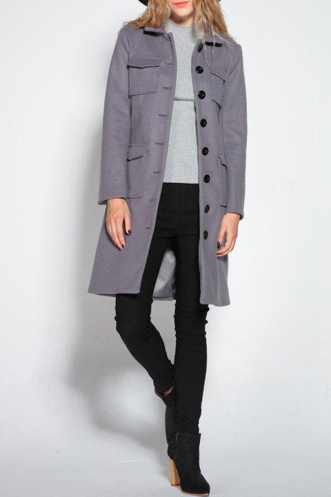 Button Up Belted Wool Blend Coat - Gris XL