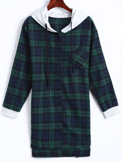 Plaid Button Up Paneled Hoodie - GREEN 3XL