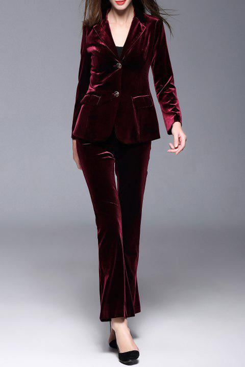 500af8388b 17% OFF  2019 Lapel Velour Blazer with Flare Pants In BURGUNDY M ...