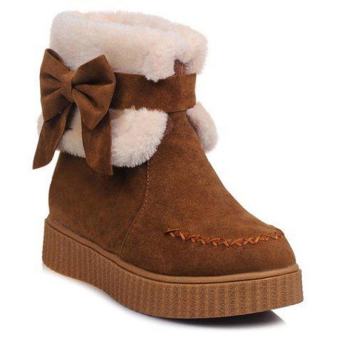 Stitching Faux Fur Bow Snow Boots - BROWN 39