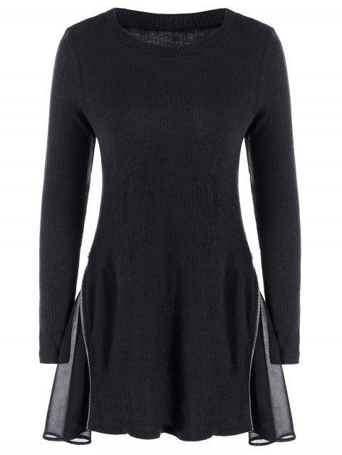 Side Zip Ribbed Long Sleeve Swing Dress - BLACK XL