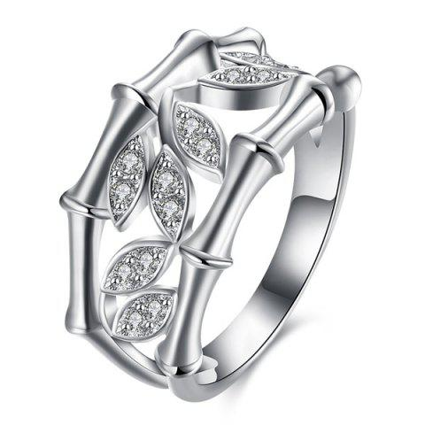 Strass Feuille Ring Forme - Argent 7