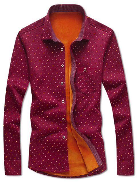 Moustache and Tobacco Pipe Print Flocking Shirt - RED M