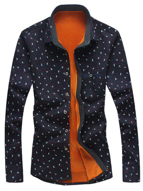 Feather and Ink Dot Print Flocking Shirt - BLACK L