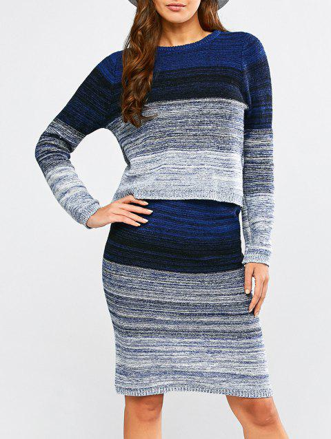 Gradient Knitwear and Bodycon Skirt Twinset - BLUE ONE SIZE